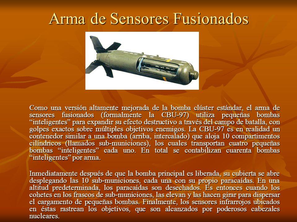 Bomba de Munición Masiva La mayor arma convencional masiva del arsenal estadounidense es la Bomba de Ráfaga de Aire de Munición Masiva (la GBU-43/B), que pesa 10,5 toneladas y contiene nueve toneladas de explosivo H-6.