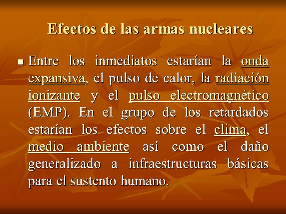 Efectos de las armas nucleares A pesar de la espectacularidad de los primeros son los daños secundarios los que ocasionarían el grueso de las muertes tras un ataque nuclear.