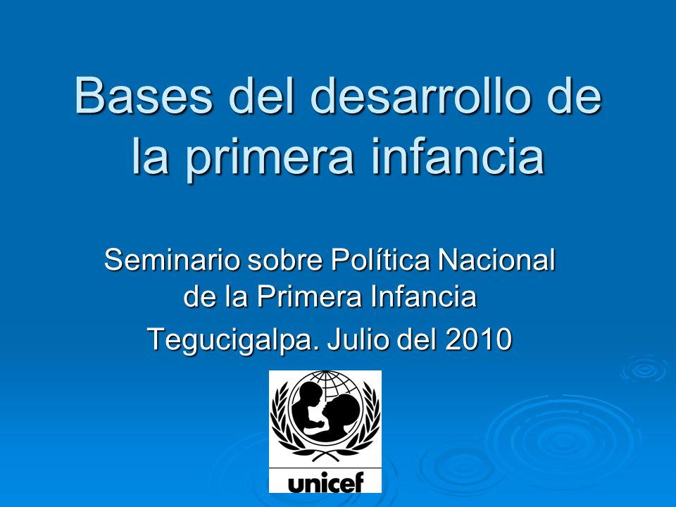 Bases del desarrollo de la primera infancia Seminario sobre Política Nacional de la Primera Infancia Tegucigalpa. Julio del 2010