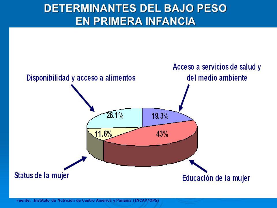 DETERMINANTES DEL BAJO PESO EN PRIMERA INFANCIA Fuente: Instituto de Nutrición de Centro América y Panamá (INCAP/OPS)