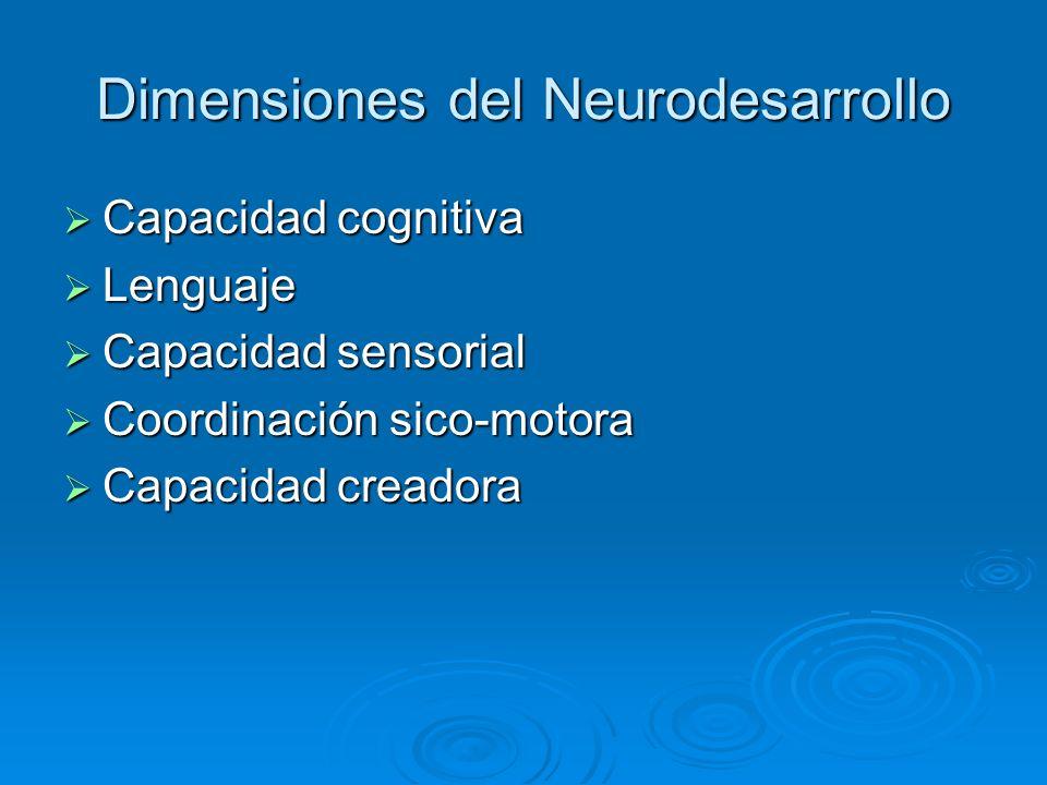 Dimensiones del Neurodesarrollo Capacidad cognitiva Capacidad cognitiva Lenguaje Lenguaje Capacidad sensorial Capacidad sensorial Coordinación sico-mo