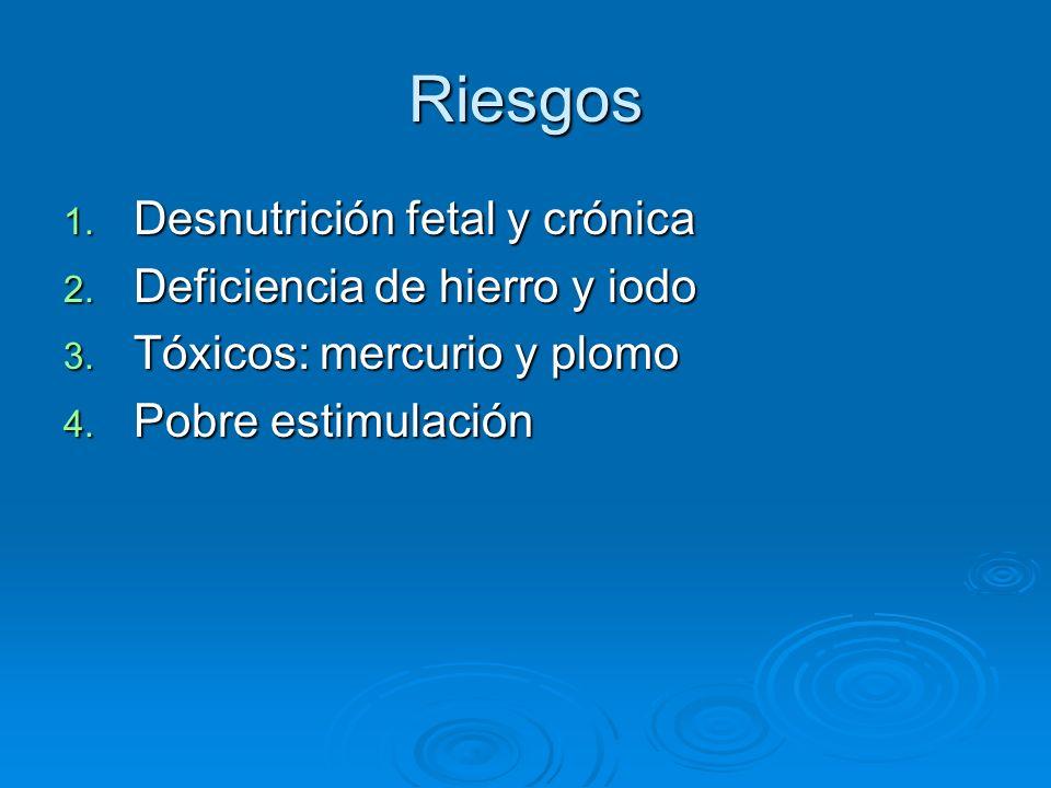 Riesgos 1. Desnutrición fetal y crónica 2. Deficiencia de hierro y iodo 3. Tóxicos: mercurio y plomo 4. Pobre estimulación