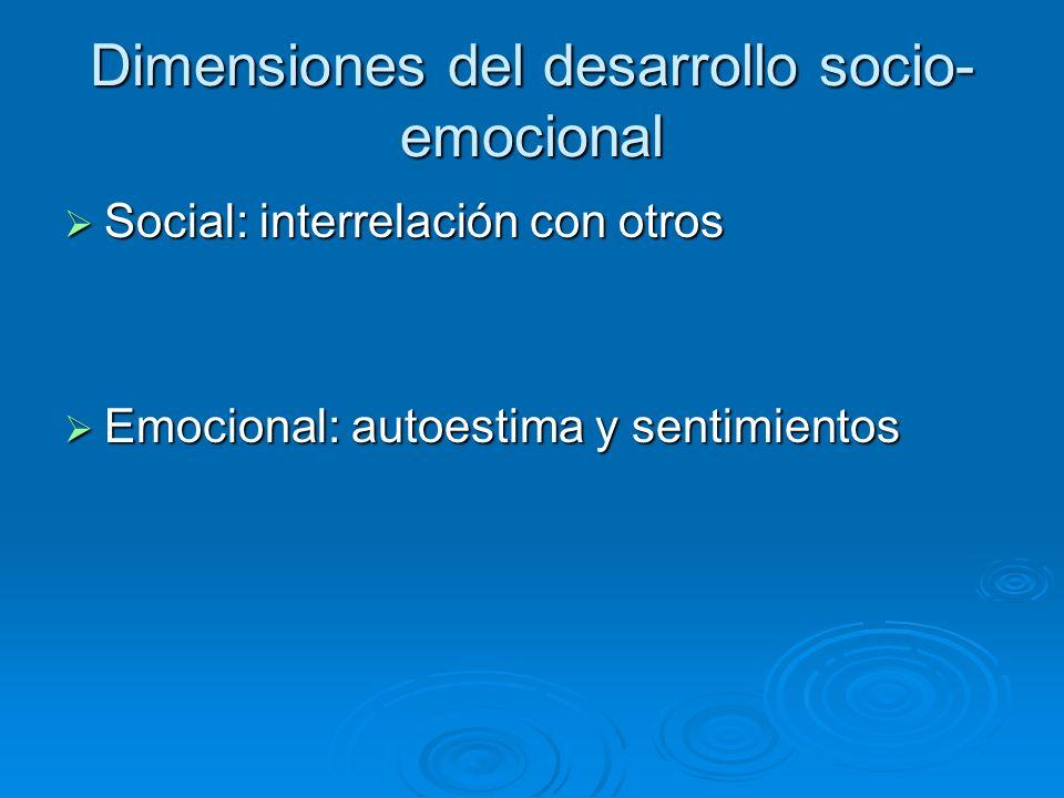 Dimensiones del desarrollo socio- emocional Social: interrelación con otros Social: interrelación con otros Emocional: autoestima y sentimientos Emoci