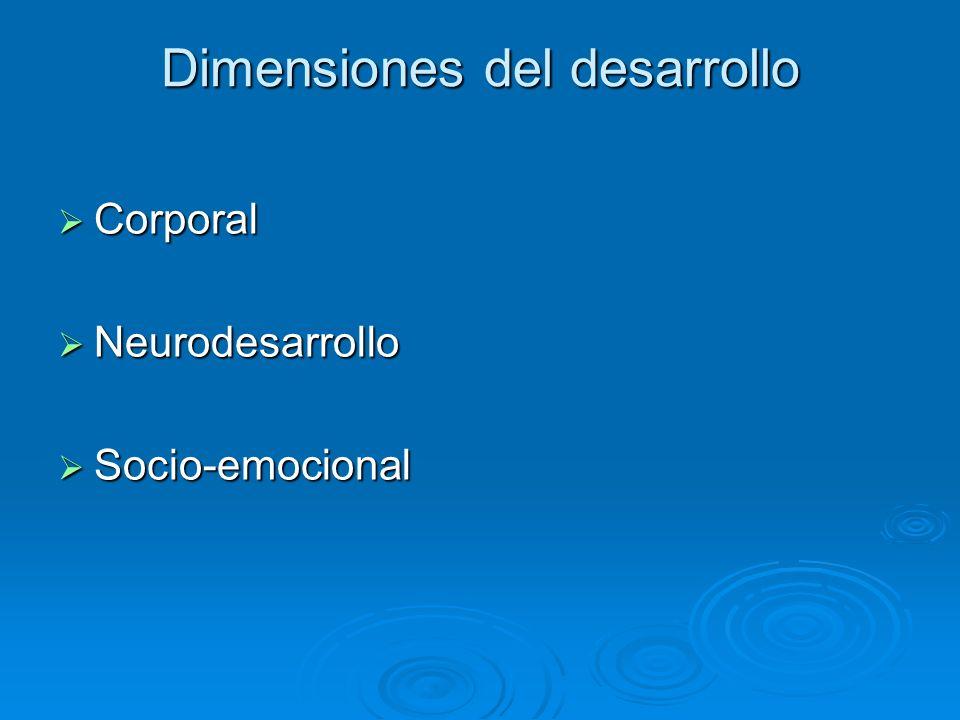 Dimensiones del desarrollo Corporal Corporal Neurodesarrollo Neurodesarrollo Socio-emocional Socio-emocional
