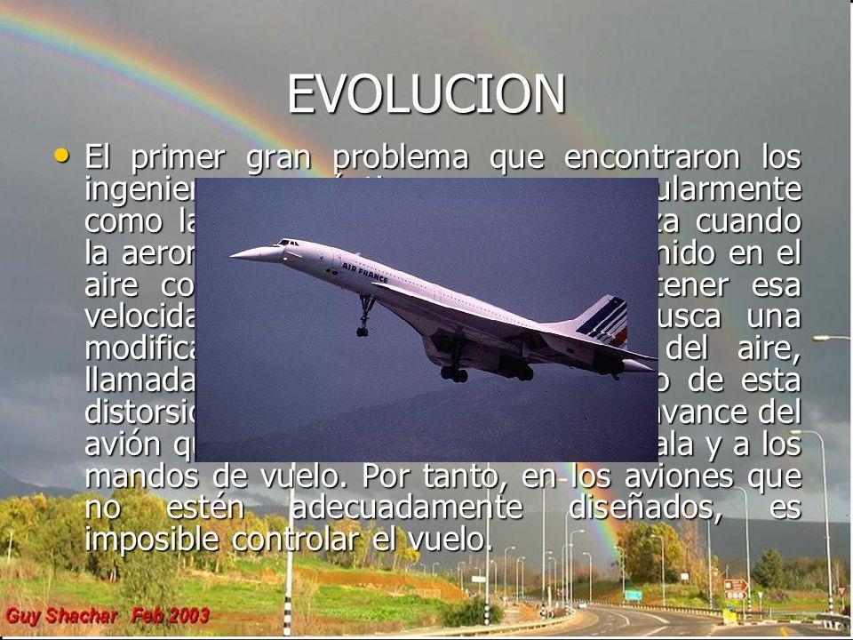 EVOLUCION El primer gran problema que encontraron los ingenieros aeronáuticos se conoce popularmente como la barrera del sonido. Se alcanza cuando la