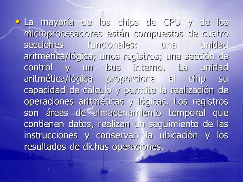La mayoría de los chips de CPU y de los microprocesadores están compuestos de cuatro secciones funcionales: una unidad aritmética/lógica; unos registr