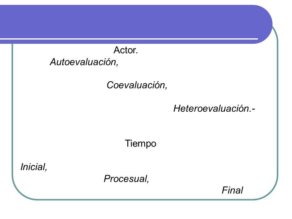 Actor. Autoevaluación, Coevaluación, Heteroevaluación.- Tiempo Inicial, Procesual, Final