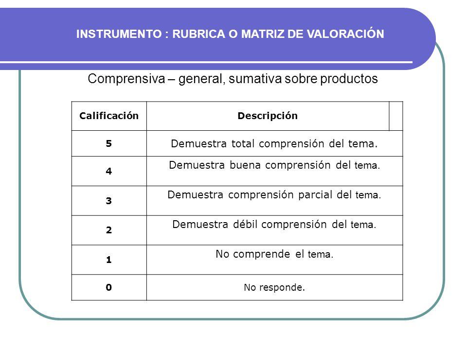 Comprensiva – general, sumativa sobre productos CalificaciónDescripción 5 Demuestra total comprensión del tema. 4 Demuestra buena comprensión del tema