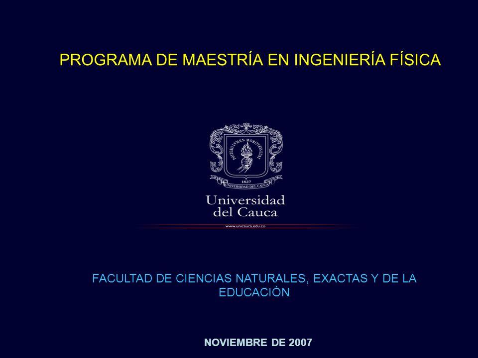 NOVIEMBRE DE 2007 PROGRAMA DE MAESTRÍA EN INGENIERÍA FÍSICA FACULTAD DE CIENCIAS NATURALES, EXACTAS Y DE LA EDUCACIÓN