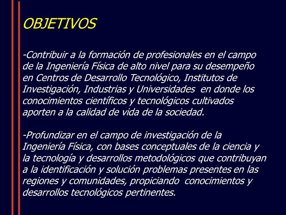 OBJETIVOS -Contribuir a la formación de profesionales en el campo de la Ingeniería Física de alto nivel para su desempeño en Centros de Desarrollo Tecnológico, Institutos de Investigación, Industrias y Universidades en donde los conocimientos científicos y tecnológicos cultivados aporten a la calidad de vida de la sociedad.