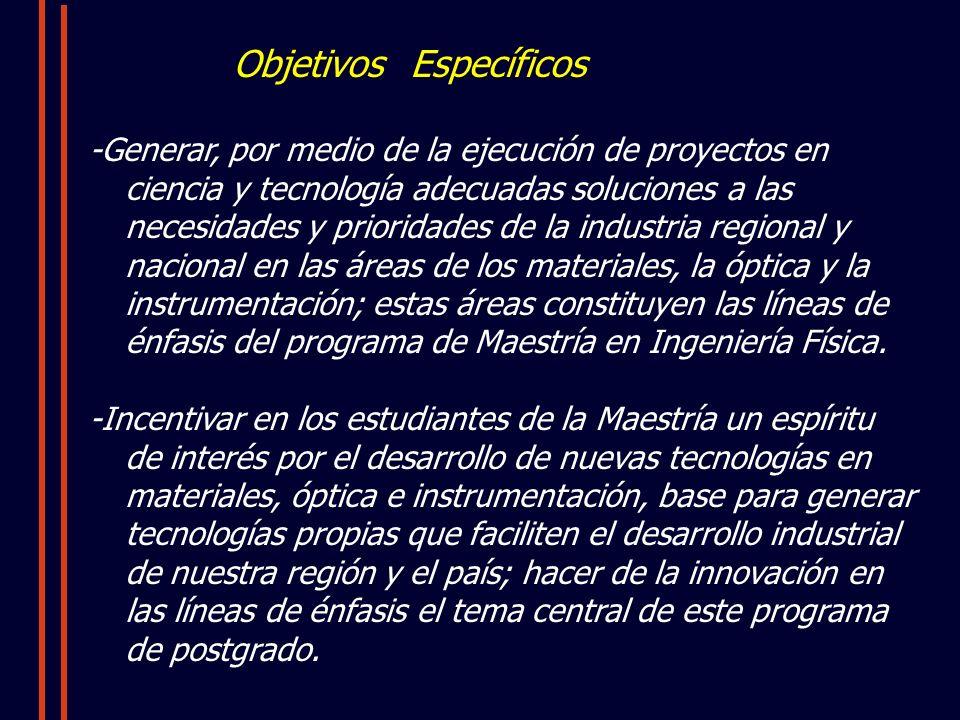Objetivos Específicos -Generar, por medio de la ejecución de proyectos en ciencia y tecnología adecuadas soluciones a las necesidades y prioridades de la industria regional y nacional en las áreas de los materiales, la óptica y la instrumentación; estas áreas constituyen las líneas de énfasis del programa de Maestría en Ingeniería Física.