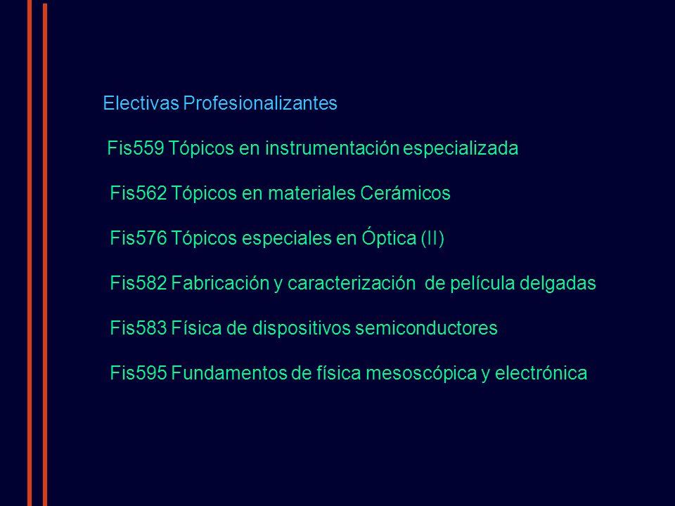 Electivas Profesionalizantes Fis559 Tópicos en instrumentación especializada Fis562 Tópicos en materiales Cerámicos Fis576 Tópicos especiales en Óptica (II) Fis582 Fabricación y caracterización de película delgadas Fis583 Física de dispositivos semiconductores Fis595 Fundamentos de física mesoscópica y electrónica