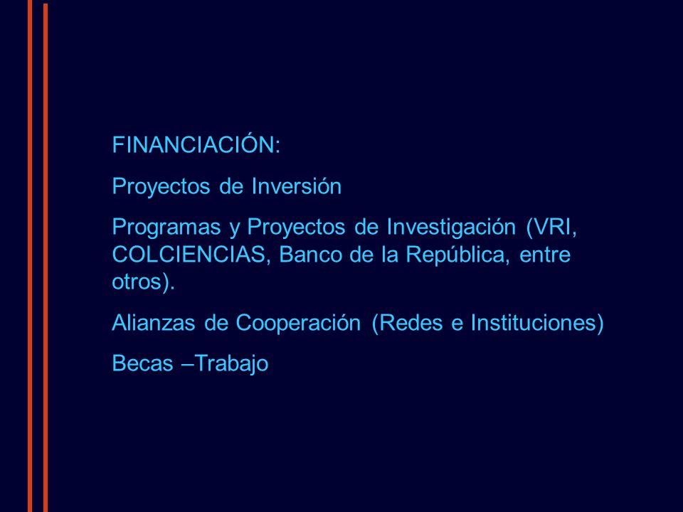 FINANCIACIÓN: Proyectos de Inversión Programas y Proyectos de Investigación (VRI, COLCIENCIAS, Banco de la República, entre otros).