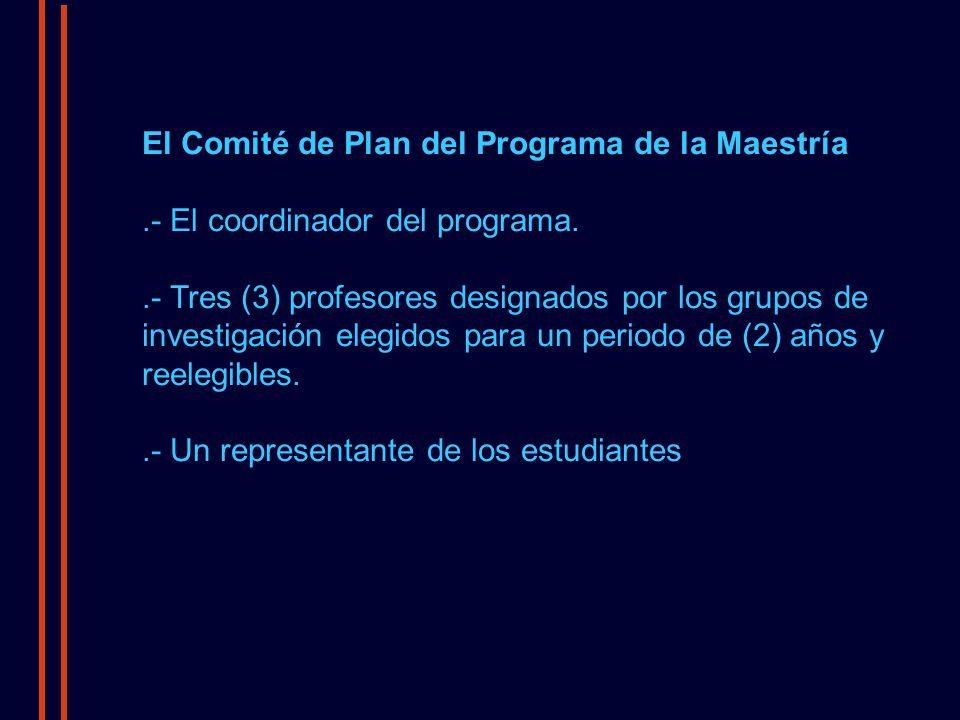 El Comité de Plan del Programa de la Maestría.- El coordinador del programa..- Tres (3) profesores designados por los grupos de investigación elegidos para un periodo de (2) años y reelegibles..- Un representante de los estudiantes