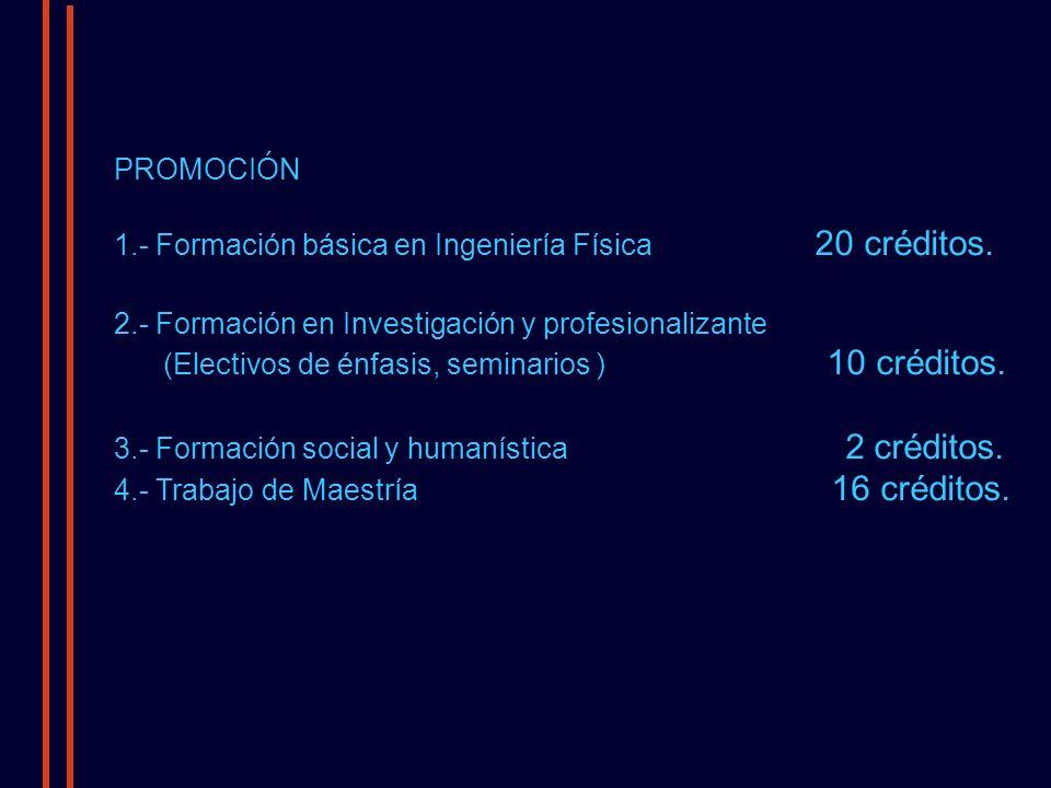 PROMOCIÓN 1.- Formación básica en Ingeniería Física 20 créditos.