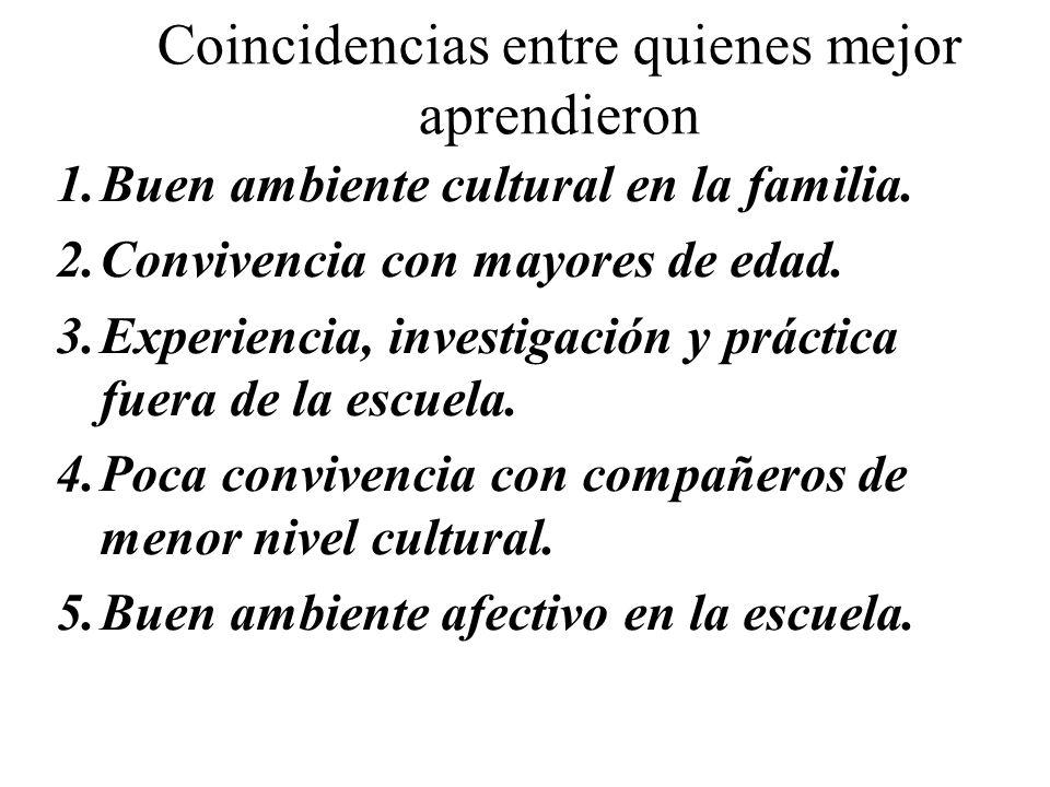 Coincidencias entre quienes mejor aprendieron 1.Buen ambiente cultural en la familia. 2.Convivencia con mayores de edad. 3.Experiencia, investigación