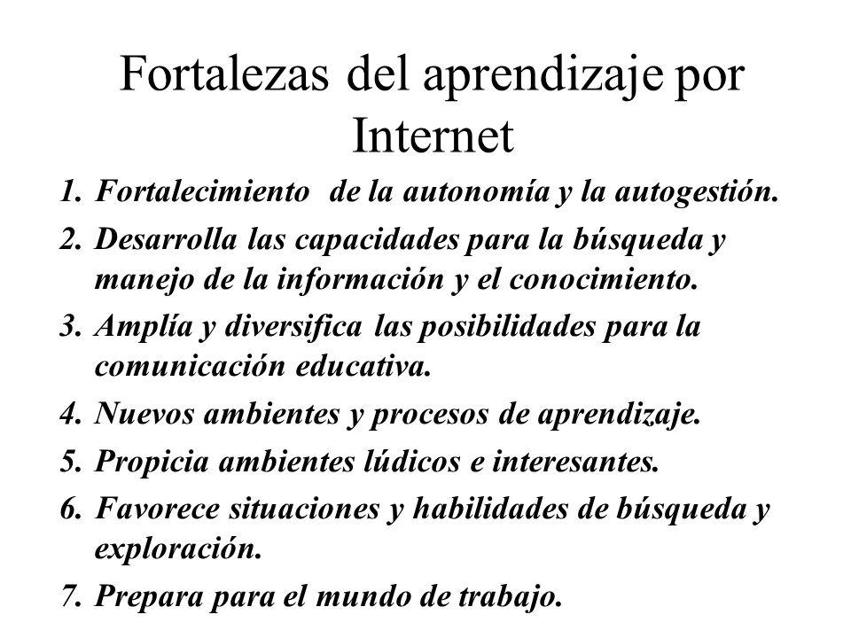 Fortalezas del aprendizaje por Internet 1.Fortalecimiento de la autonomía y la autogestión. 2.Desarrolla las capacidades para la búsqueda y manejo de
