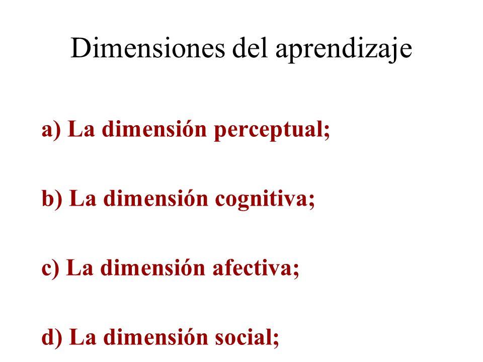 Dimensiones del aprendizaje a) La dimensión perceptual; b) La dimensión cognitiva; c) La dimensión afectiva; d) La dimensión social; La multidimension