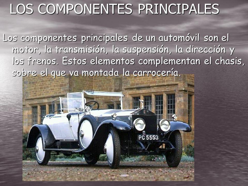 LOS COMPONENTES PRINCIPALES Los componentes principales de un automóvil son el motor, la transmisión, la suspensión, la dirección y los frenos.