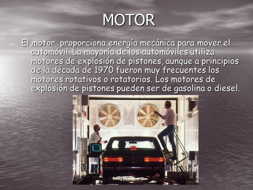 LOS COMPONENTES PRINCIPALES Los componentes principales de un automóvil son el motor, la transmisión, la suspensión, la dirección y los frenos. Estos