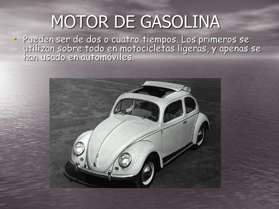 MOTOR El motor proporciona energía mecánica para mover el automóvil. La mayoría de los automóviles utiliza motores de explosión de pistones, aunque a