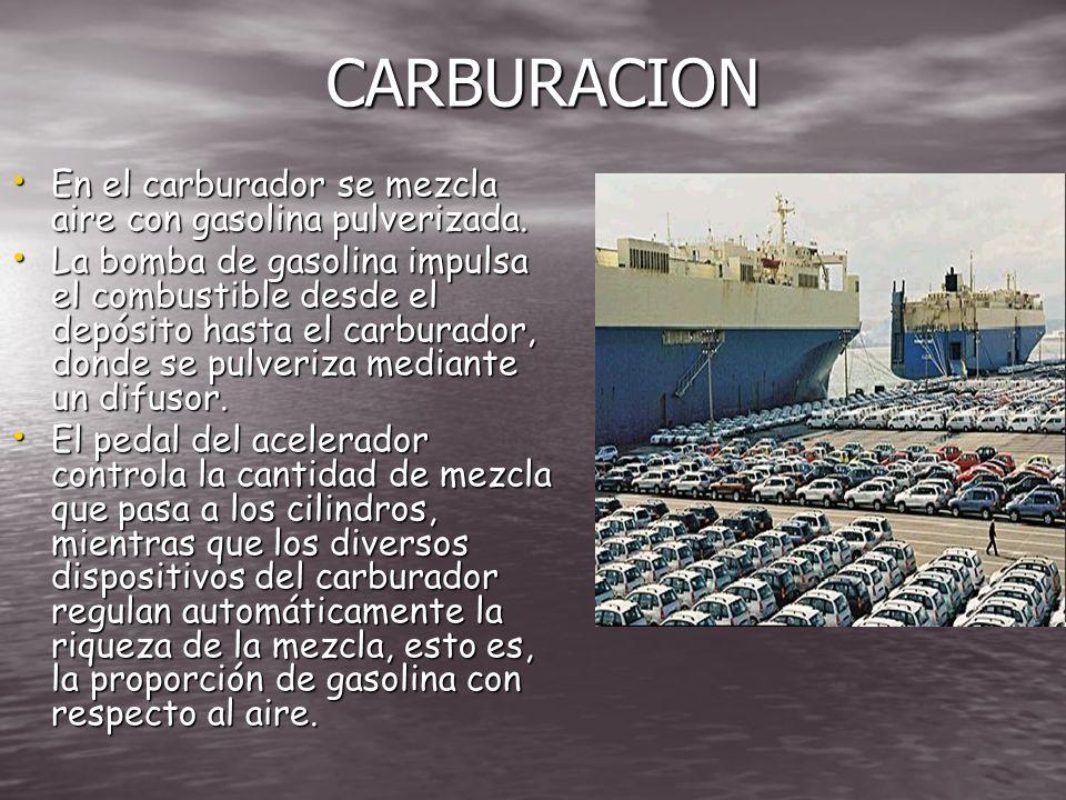 CARBURACION En el carburador se mezcla aire con gasolina pulverizada.