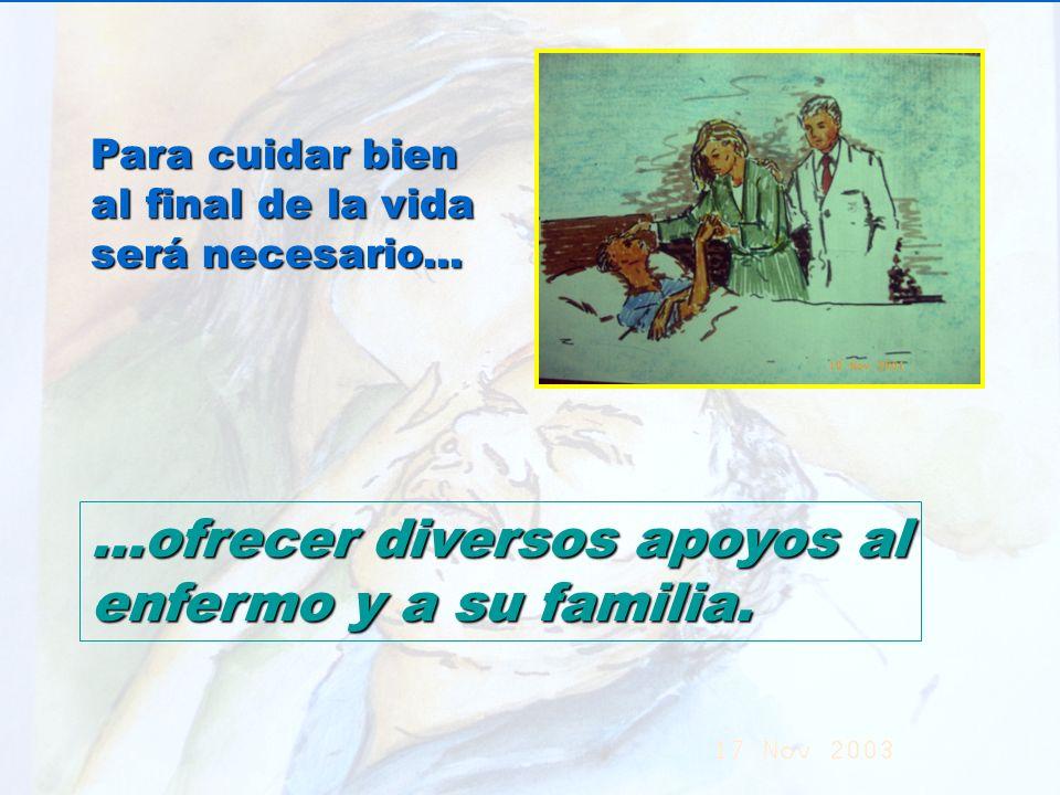 UMP Hospital San Juan de Dios (Santurce-Vizcaya). 2000 Para cuidar bien al final de la vida será necesario......ofrecer diversos apoyos al enfermo y a