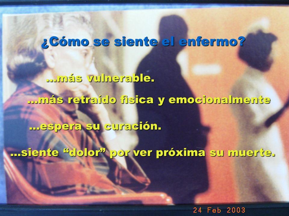 UMP Hospital San Juan de Dios (Santurce-Vizcaya). 2000 ¿Cómo se siente el enfermo?...más vulnerable....más retraído fìsica y emocionalmente...espera s
