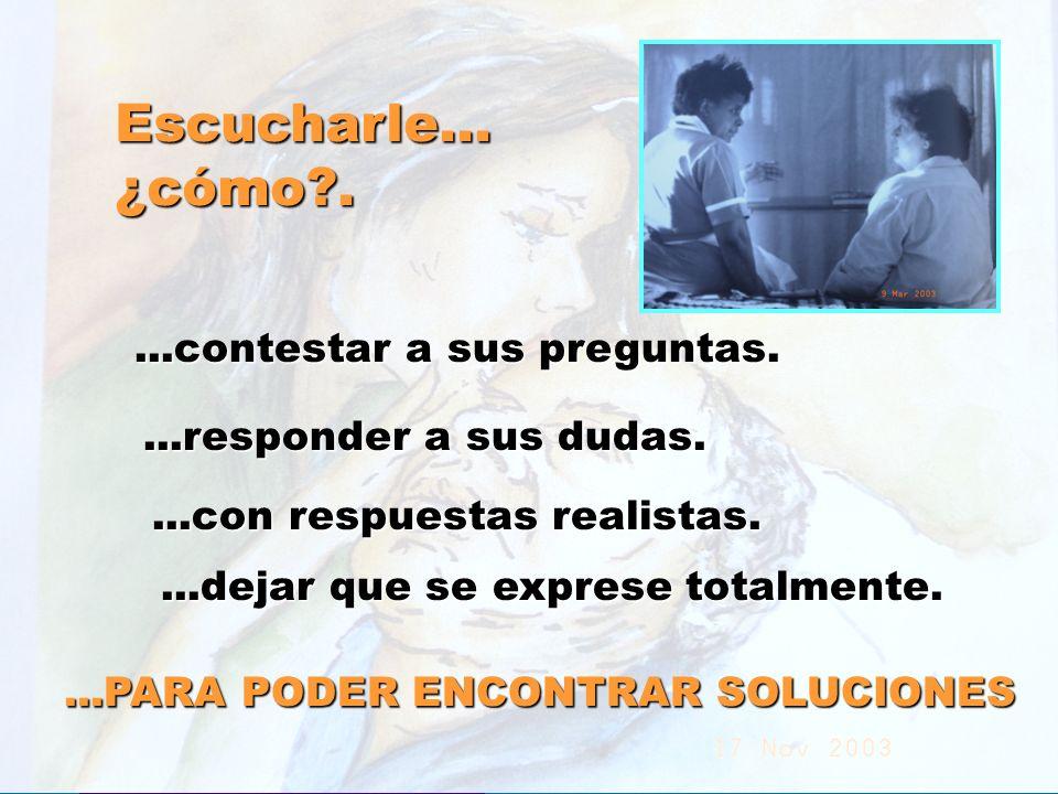 UMP Hospital San Juan de Dios (Santurce-Vizcaya). 2000 Escucharle...¿cómo?....contestar a sus preguntas....responder a sus dudas....con respuestas rea