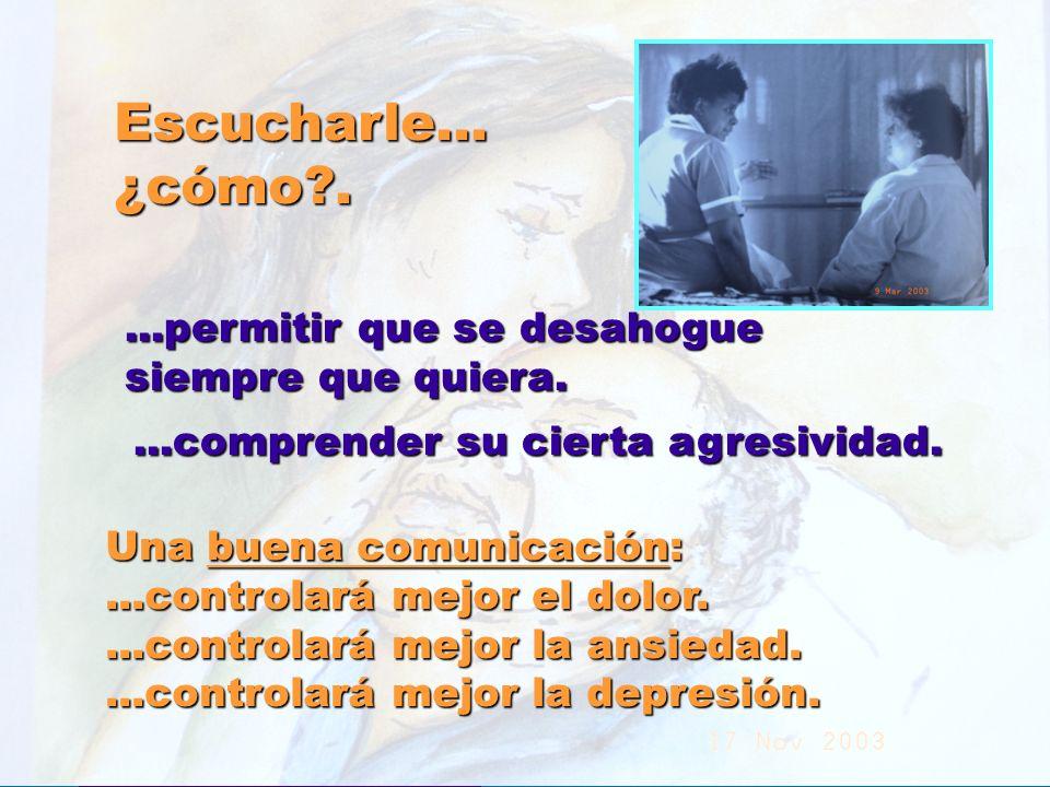 UMP Hospital San Juan de Dios (Santurce-Vizcaya). 2000 Escucharle...¿cómo?....permitir que se desahogue siempre que quiera....comprender su cierta agr