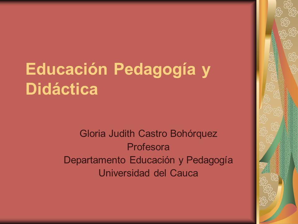 Educación Pedagogía y Didáctica Gloria Judith Castro Bohórquez Profesora Departamento Educación y Pedagogía Universidad del Cauca