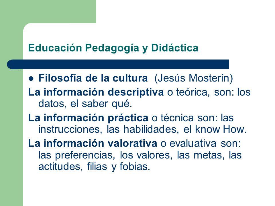 Educación Pedagogía y Didáctica Filosofía de la cultura (Jesús Mosterín) La información descriptiva o teórica, son: los datos, el saber qué. La inform