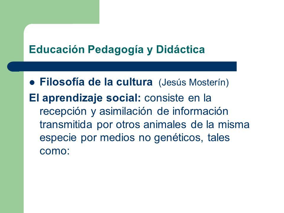 Educación Pedagogía y Didáctica Filosofía de la cultura (Jesús Mosterín) El aprendizaje social: consiste en la recepción y asimilación de información