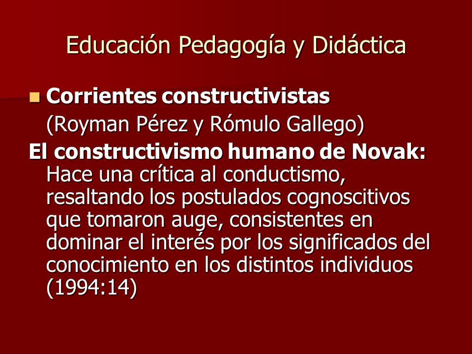 Educación Pedagogía y Didáctica Corrientes constructivistas Corrientes constructivistas (Royman Pérez y Rómulo Gallego) El constructivismo humano de N