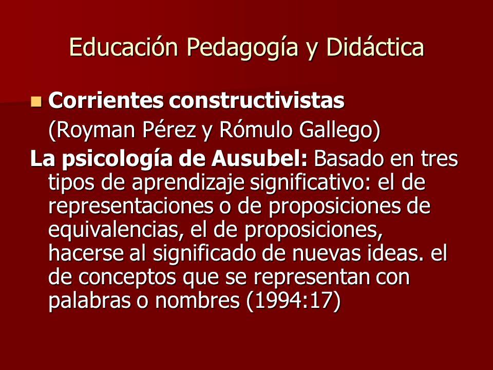 Educación Pedagogía y Didáctica Corrientes constructivistas Corrientes constructivistas (Royman Pérez y Rómulo Gallego) La psicología de Ausubel: Basa