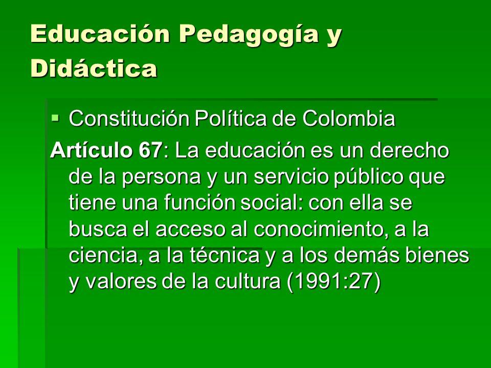 Educación Pedagogía y Didáctica Constitución Política de Colombia Constitución Política de Colombia Artículo 67: La educación es un derecho de la pers