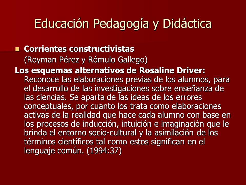 Educación Pedagogía y Didáctica Corrientes constructivistas Corrientes constructivistas (Royman Pérez y Rómulo Gallego) Los esquemas alternativos de R