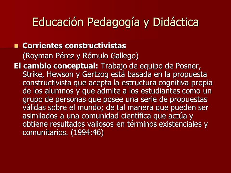 Educación Pedagogía y Didáctica Corrientes constructivistas Corrientes constructivistas (Royman Pérez y Rómulo Gallego) El cambio conceptual: Trabajo
