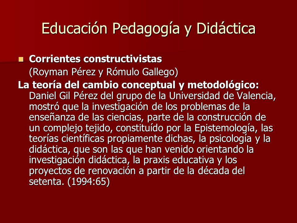 Educación Pedagogía y Didáctica Corrientes constructivistas Corrientes constructivistas (Royman Pérez y Rómulo Gallego) La teoría del cambio conceptua