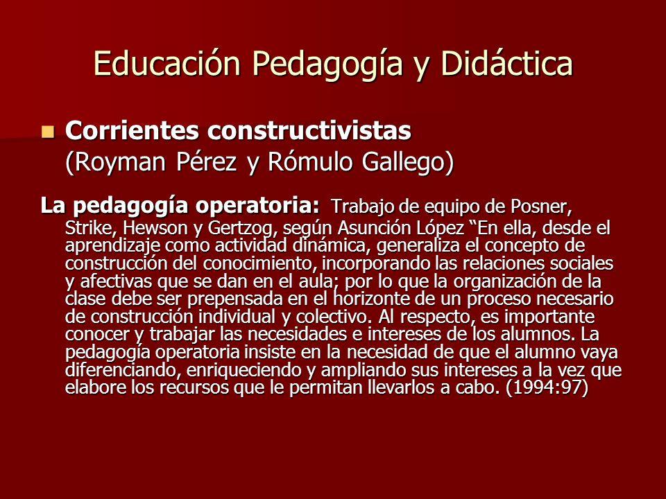 Educación Pedagogía y Didáctica Corrientes constructivistas Corrientes constructivistas (Royman Pérez y Rómulo Gallego) La pedagogía operatoria: Traba