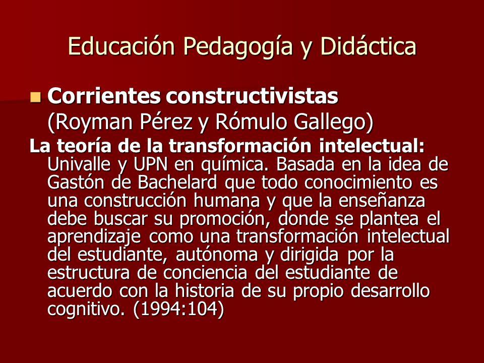 Educación Pedagogía y Didáctica Corrientes constructivistas Corrientes constructivistas (Royman Pérez y Rómulo Gallego) La teoría de la transformación