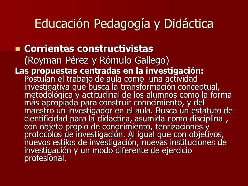 Educación Pedagogía y Didáctica Corrientes constructivistas Corrientes constructivistas (Royman Pérez y Rómulo Gallego) Las propuestas centradas en la