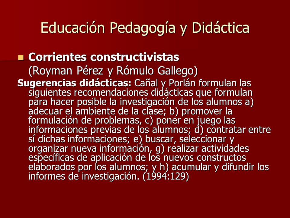 Educación Pedagogía y Didáctica Corrientes constructivistas Corrientes constructivistas (Royman Pérez y Rómulo Gallego) Sugerencias didácticas: Cañal