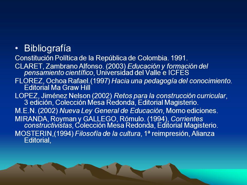 Bibliografía Constitución Política de la República de Colombia. 1991. CLARET, Zambrano Alfonso. (2003) Educación y formación del pensamiento científic