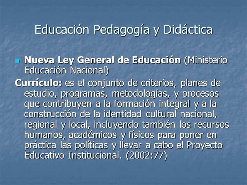 Educación Pedagogía y Didáctica Nueva Ley General de Educación (Ministerio Educación Nacional) Nueva Ley General de Educación (Ministerio Educación Nacional) Plan de estudios: es el esquema estructurado de las áreas obligatorias y fundamentales y de áreas optativas con sus respectivas asignaturas, que forman parte del currículo de los establecimientos educativos.