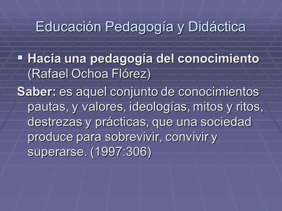 Educación Pedagogía y Didáctica Educación y Pedagogía una diferencia necesaria (Olga Lucía Zuluaga) Educación y Pedagogía una diferencia necesaria (Olga Lucía Zuluaga) Didáctica: Es el discurso a través del cual el saber pedagógico ha pensado la enseñanza hasta hacerla el objeto central de sus elaboraciones