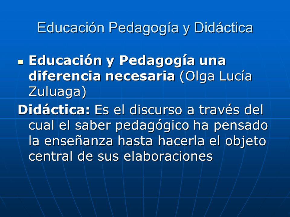 Educación Pedagogía y Didáctica Educación y Pedagogía una diferencia necesaria (Olga Lucía Zuluaga) Educación y Pedagogía una diferencia necesaria (Ol