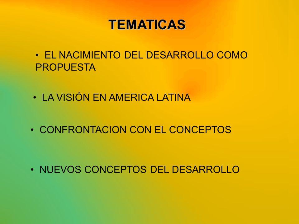 EL NACIMIENTO DEL DESARROLLO COMO PROPUESTA CONFRONTACION CON EL CONCEPTOS NUEVOS CONCEPTOS DEL DESARROLLO TEMATICAS LA VISIÓN EN AMERICA LATINA