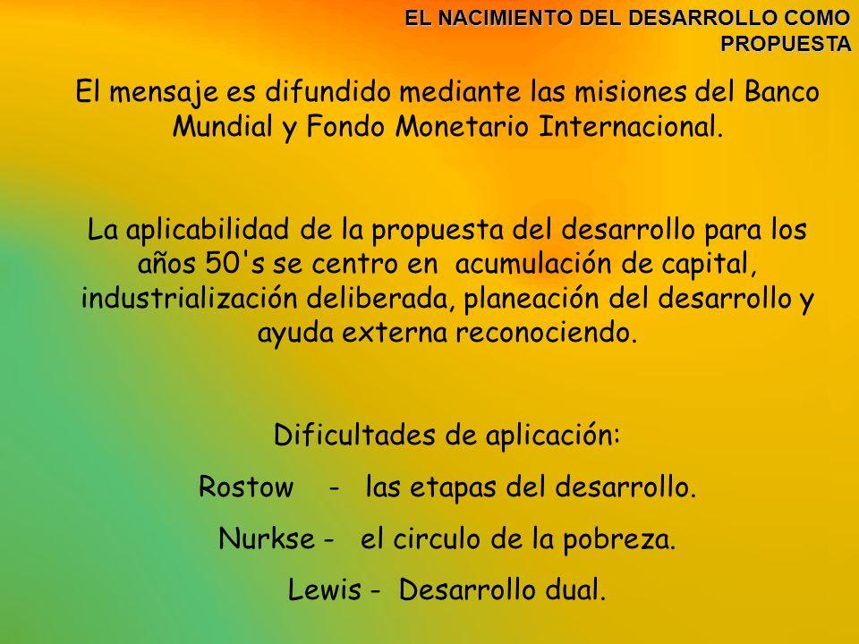 EL NACIMIENTO DEL DESARROLLO COMO PROPUESTA EL NACIMIENTO DEL DESARROLLO COMO PROPUESTA LO RURAL EN EL DESARROLLO En un inicio se dio importancia a la industria como centro del esta visión del desarrollo Para la decada de los 70 dado el avance tecnológico se plantea la Revolucion verde como parte de la propuesta del desarrollo para el sector rural.