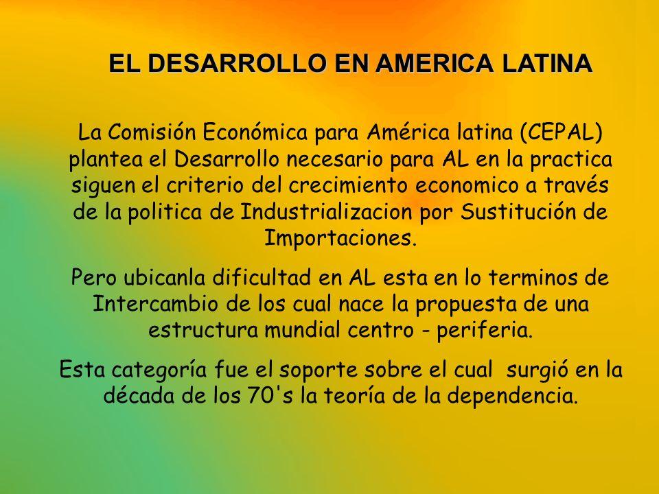 EL DESARROLLO EN AMERICA LATINA EL DESARROLLO EN AMERICA LATINA La Comisión Económica para América latina (CEPAL) plantea el Desarrollo necesario para
